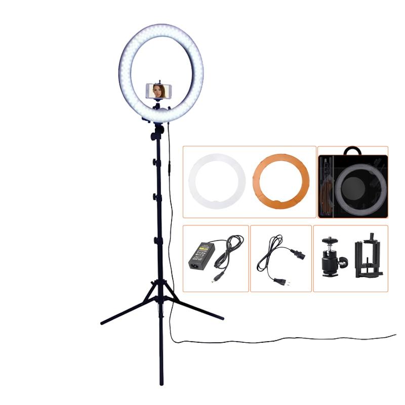 Кольцевая светодиодная лампа, 18 дюймов, 5500К, регулируемой яркости на 240 лампочек с подставкой треножником для камеры – для съемок, фотографи