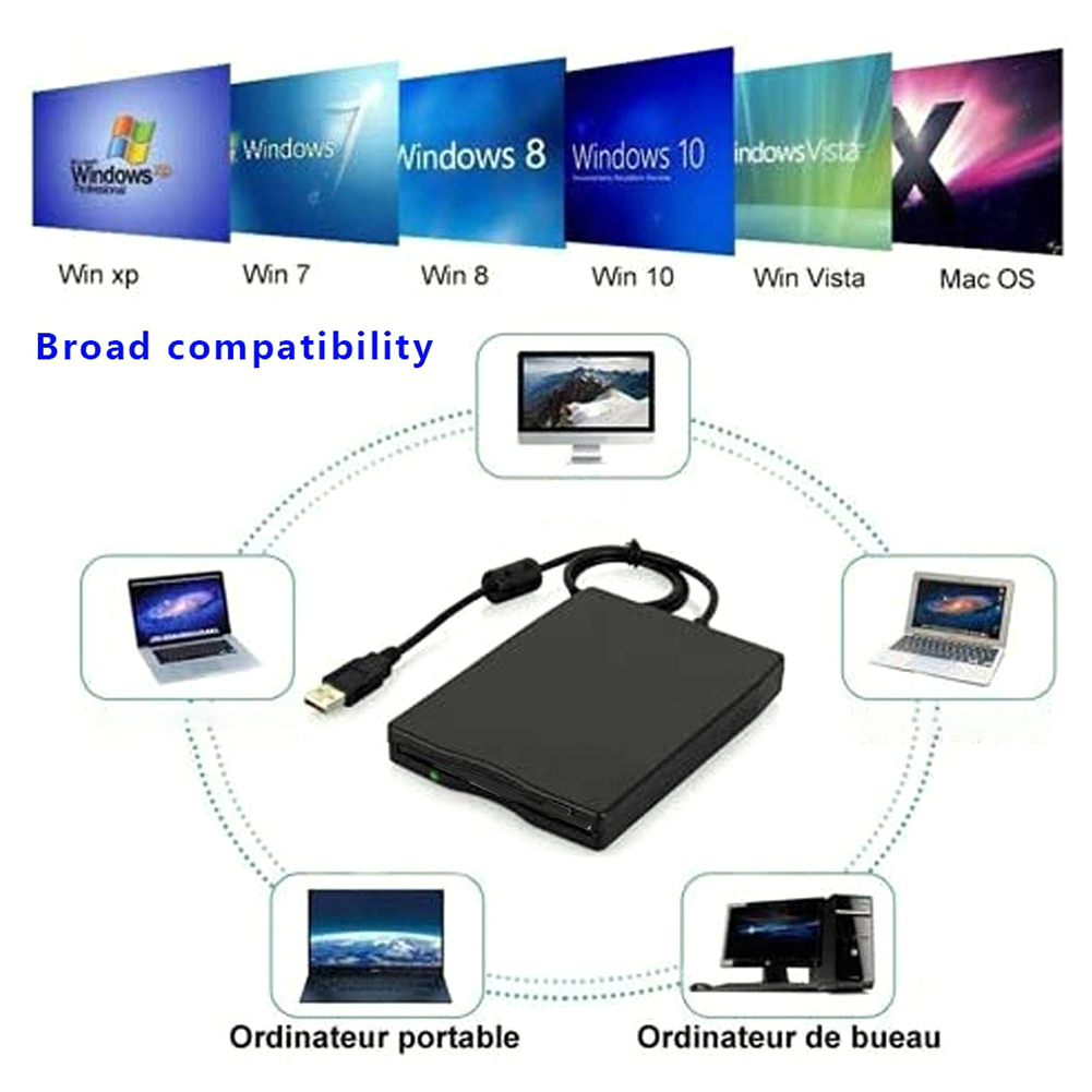3.5 inch USB Mobile Floppy Disk Drive 1.44MB 2HD External Diskette FDD with USB Cable for Laptop Notebook PC 5