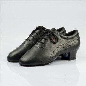 Image 3 - Hot Sale Men Latin Dance Shoes 424 Split Outsole Soft Leather Professional Dancesport  Shoe Elastic Heel Ballroom Dancing Shoe