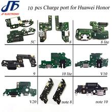 10 قطعة USB شحن لهواوي الشرف 5x 5c 6x7x8 9 لايت 10 لايت V9 10 v20 نوت 8 نوت 10 شاحن ميناء حوض موصل الكابلات المرنة