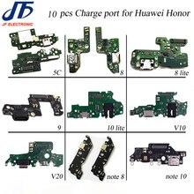 10 шт. USB зарядка для Huawei Honor 5x 5c 6x7x8 9 lite 10 lite V9 10 v20 note 8 note 10 зарядное устройство Порт соединитель гибкий кабель