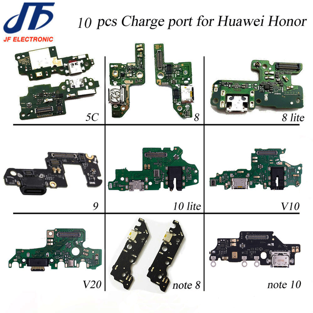 10pcs USB Charging For Huawei Honor 5x 5c 6x 7x 8 9 lite 10 lite V9 10 v20 note 8 note 10 Charger Port Dock Connector Flex Cable