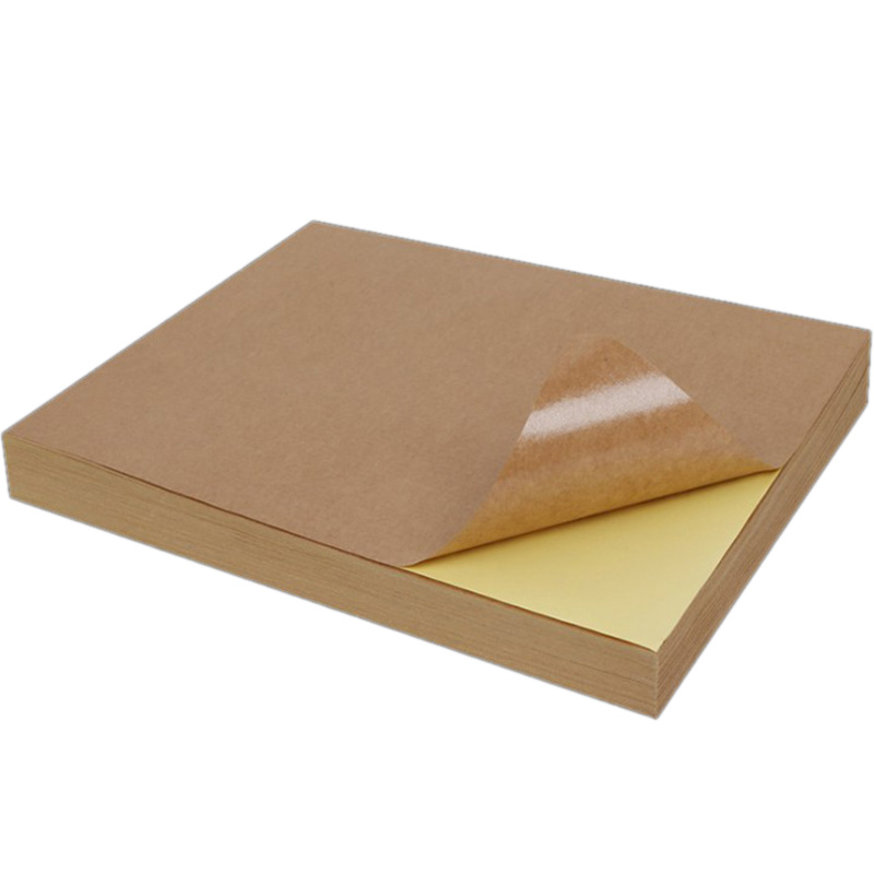 100 Sheets A4 Size Blank Kraft Adhesive Sticker Self Adhesive A4Kraft Label Paper for Inkjet Printer Packaging Label