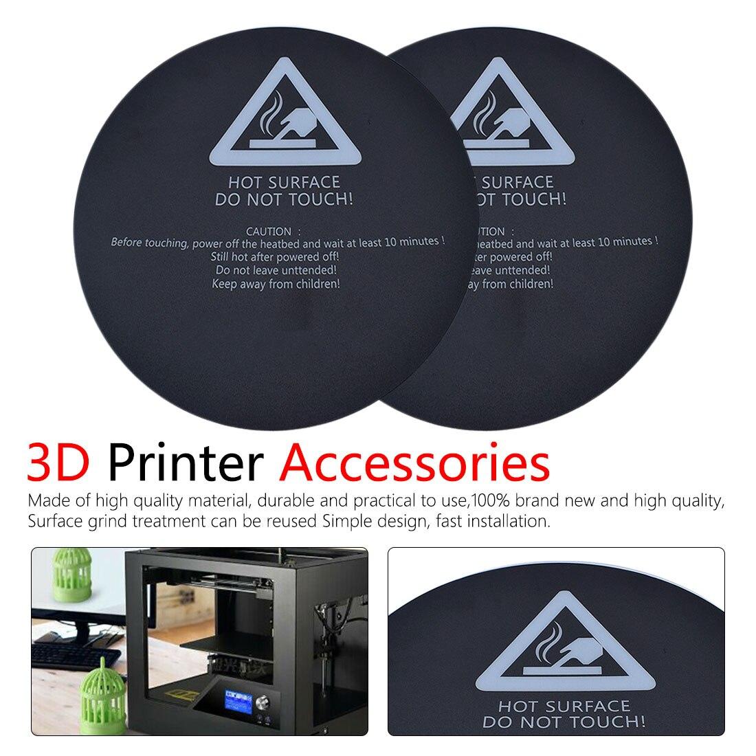 Rotondo Satinato Letto di Calore Sticker 3D Stampante Parte Sticker per Voor Kossel 3D stampante 200 millimetri 220 millimetri nero biancheria da letto stampante 3d