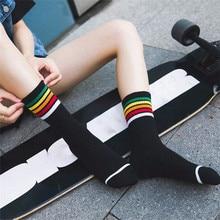 New Fashion Women Hip Hop Colorful Striped Cotton Socks Harajuku Casual Female Sokken Korean Wholesale