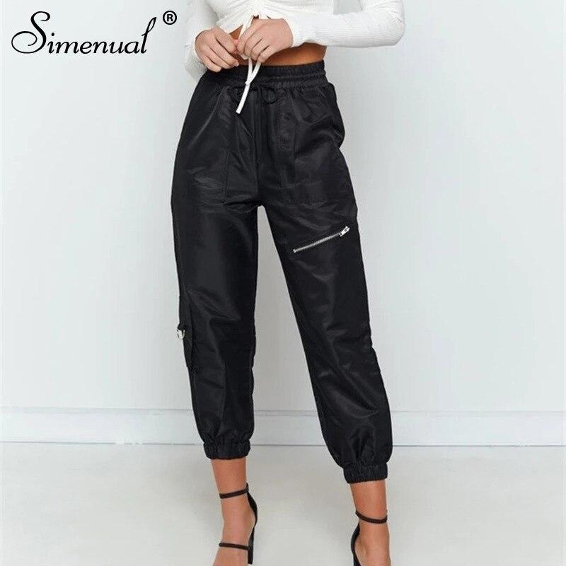 Simenual High Waist Solid Women Pencil Pants Casual Zipper Drawstring Trousers Pockets 2019 Fashion Streetwear Black Long Pants