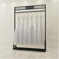 Black clothing display wedding dress shelf high end clothes rack photo studio dress cheongsam ladies shop shelf