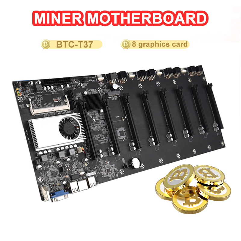 BTC-T37 Mining Motherboard VGA 8PCIE 16X 8GPU Video Card Support 1066/1333/1600MHz DDR3/DDR3L BTC-T37 Mining Motherboard 4