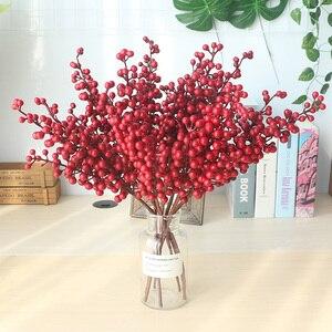 Image 2 - Flor Artificial con bayas rojas falsas, flor de Navidad, árbol de decoración de Año Nuevo, baya Artificial, decoración de Navidad para el hogar