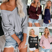 Hot Selling V-neck Waffle off-Shoulder Lantern Sleeve T-shirt Tops 2019 Autumn New Style Europe And America WOMEN'S Dress
