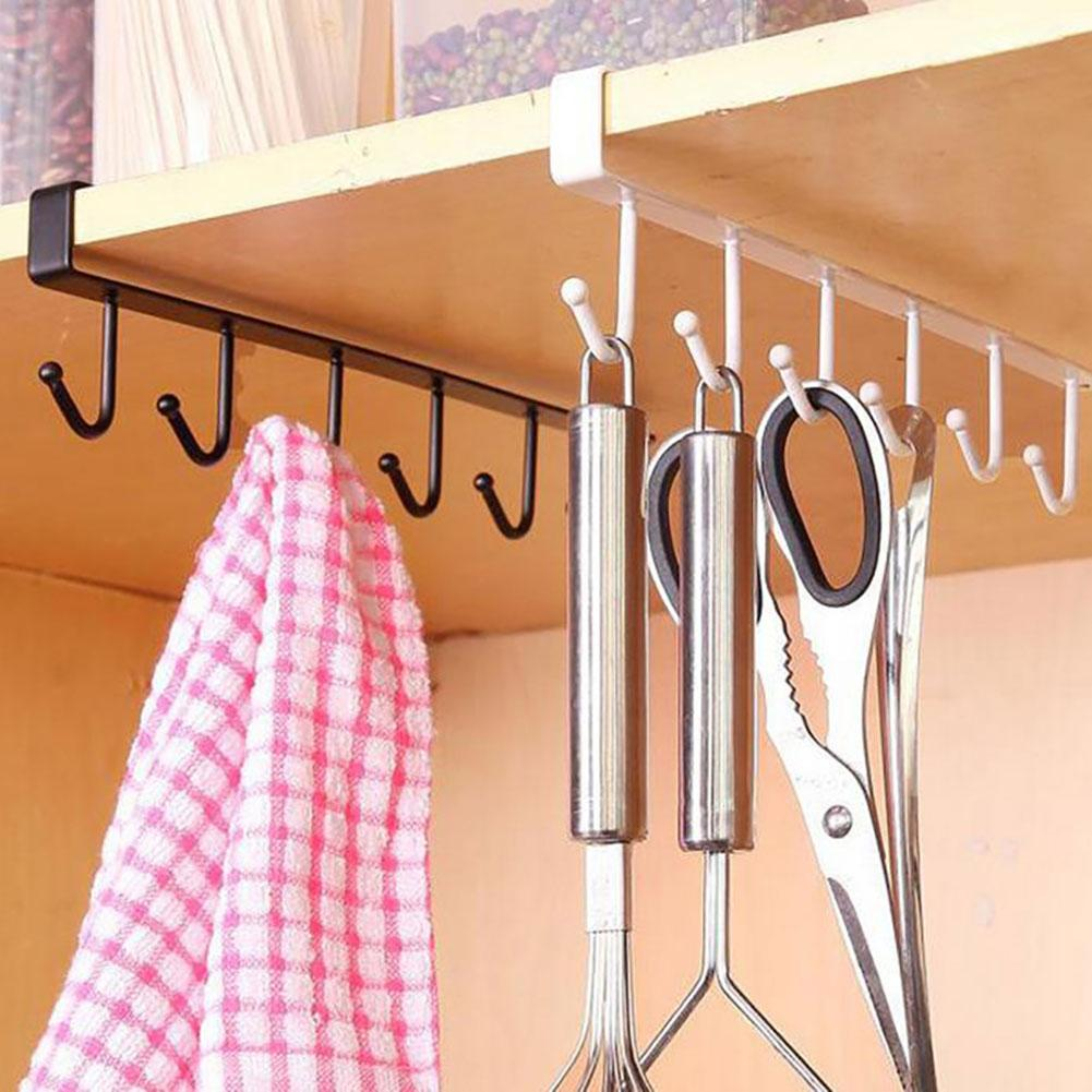 Kitchen Cutlery Cup Storage Rack With 6 Hooks Wall Mount Cupboard Hanging Hook Clothes Hanger Rangement Cuisine Cup Storage Rack