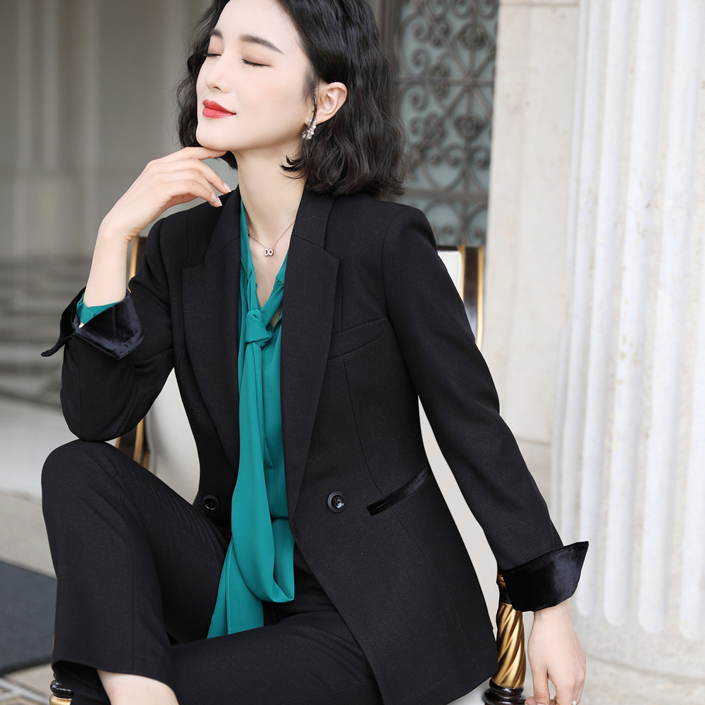 Female Trouesr Suit Fall And Winter 2019 New Fashion Long Sleeve Suit Temperament Formal Female Workers Pant Set 9332