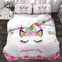 3D Cartoon Unicorn Kids Bedding Set King Rose Floral Duvet Cover Girly Home Textiles Purple Bedclothes 3pcs Drop Ship