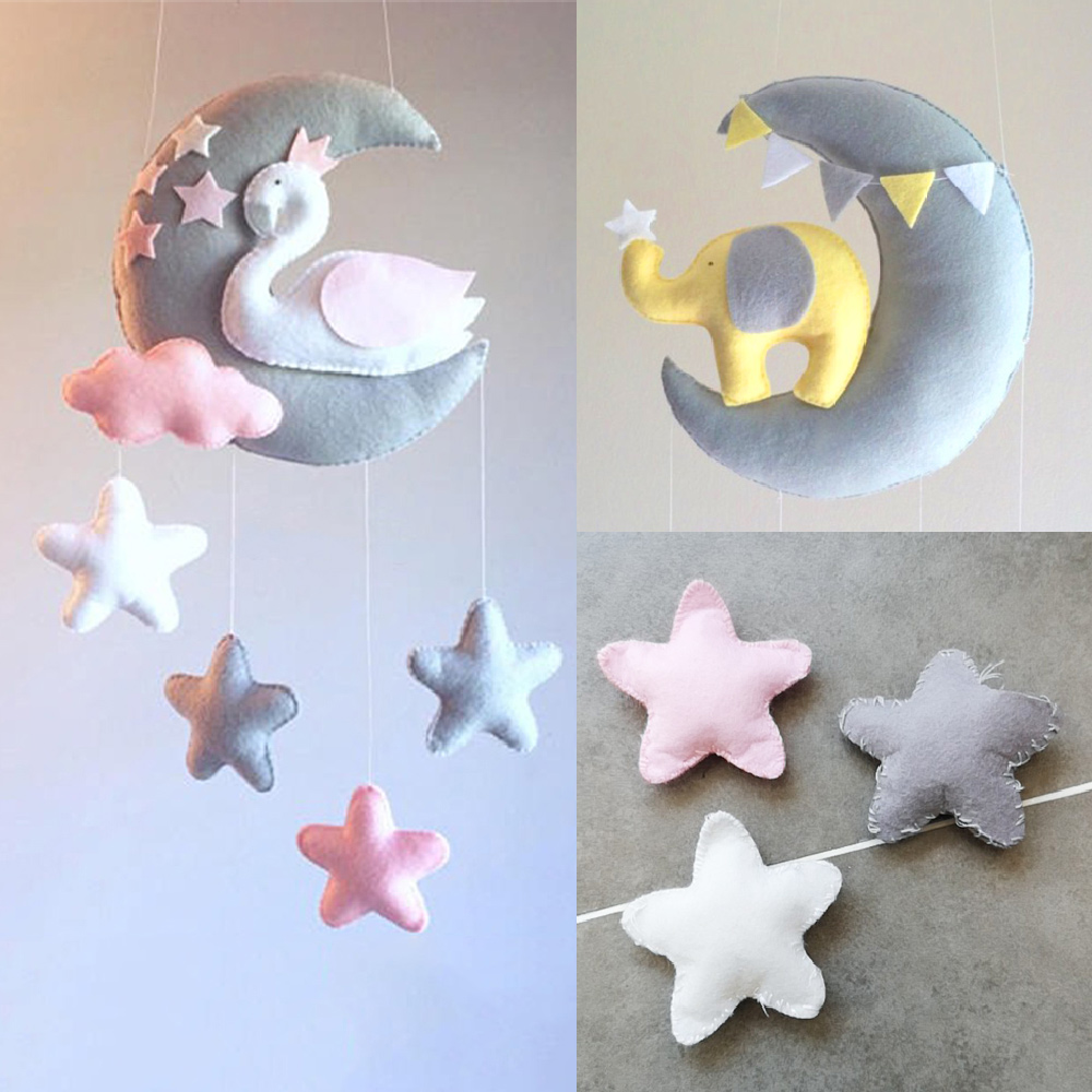 Baby Toys 0-12 Months Moon Swan DIY Rattles Rotating Bed Bell Crib Mobiles Holder Wind-up Music Box Mom Handmade Toys For Baby
