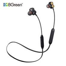 BGreen Sports Waterproof Bluetooth Earphones Dual Speaker Stereo Wireless Headset With Microphone 4 Transducer Bass Earphone(China)