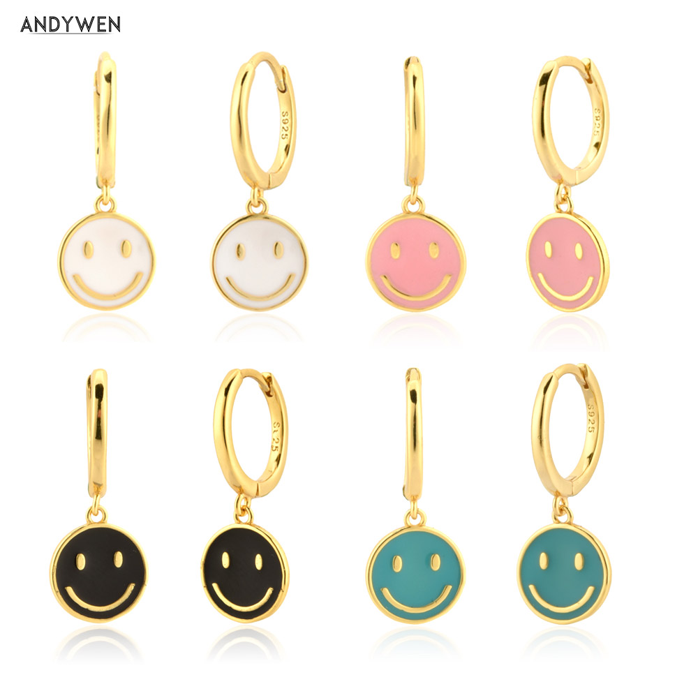 ANDYWEN 925 Sterling Silver Gold White Pink Enamel Smile Drop Earring Black Clips Pendiente Spring Summer Jewelry For Women Gift Drop Earrings  - AliExpress