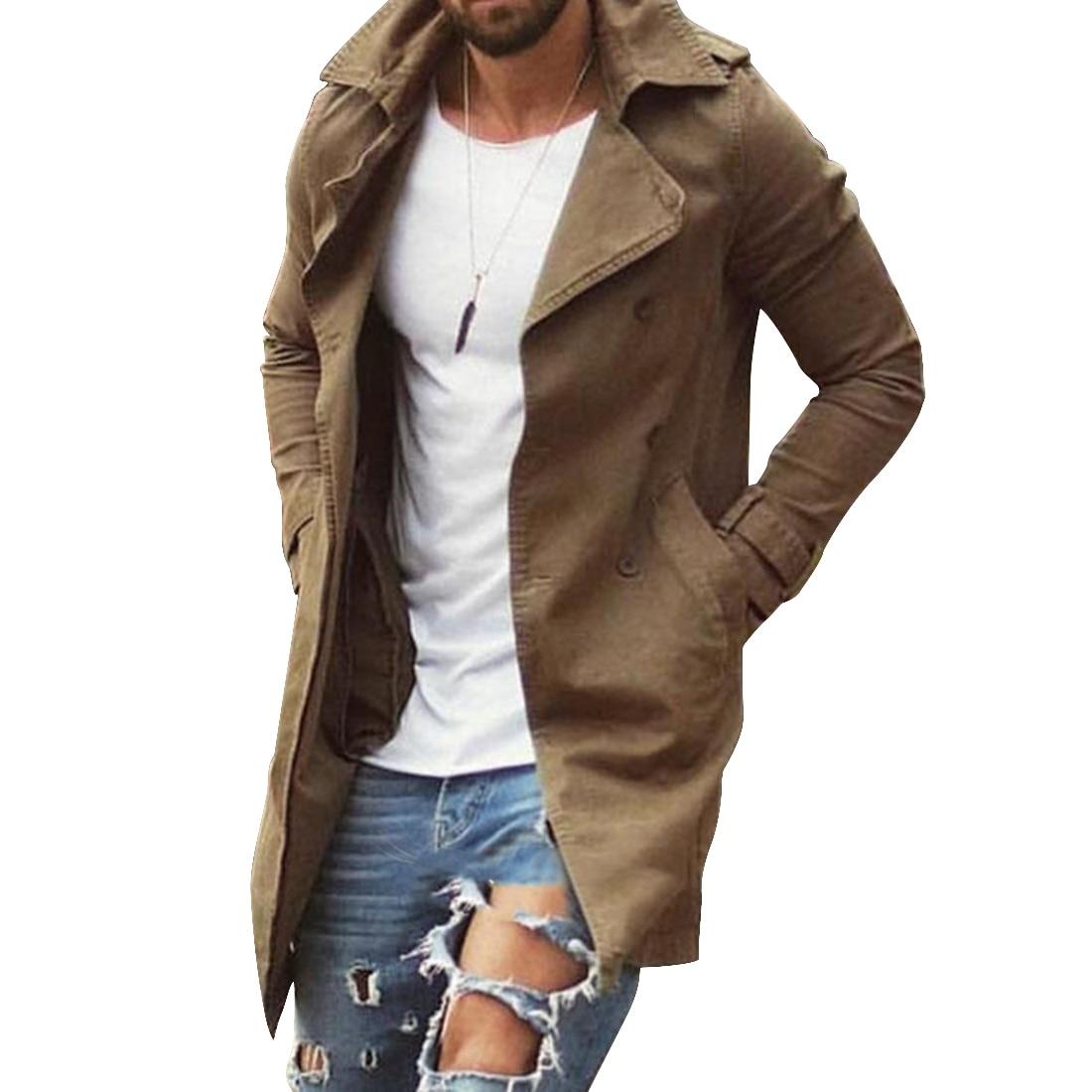 Spring Autumn Men Trench Coat Jacket Slim Fit Plus Size Black Outwear Business Long Windproof Overcoat Jackets For Men 3