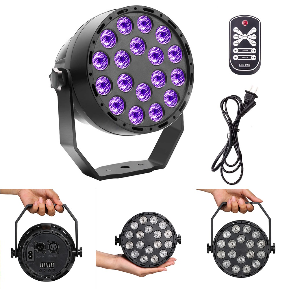 <font><b>18</b></font> LED UV lighting effects Professional Stage Light Disco DJ Projector Machine Party with Wireless Remote Control image