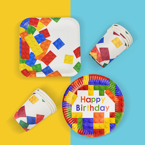 Image 2 - 8pcs Lego Party Disposable Tableware Plates Cups Childrens Birthday Party Baby Shower Decorations Supplies