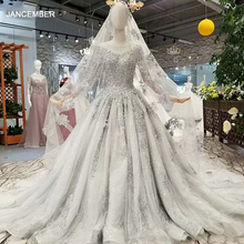 LS74100 dibai mother of bride shiny grey dress long sleeve o neck long train crystal women occasion dress with veil high quality