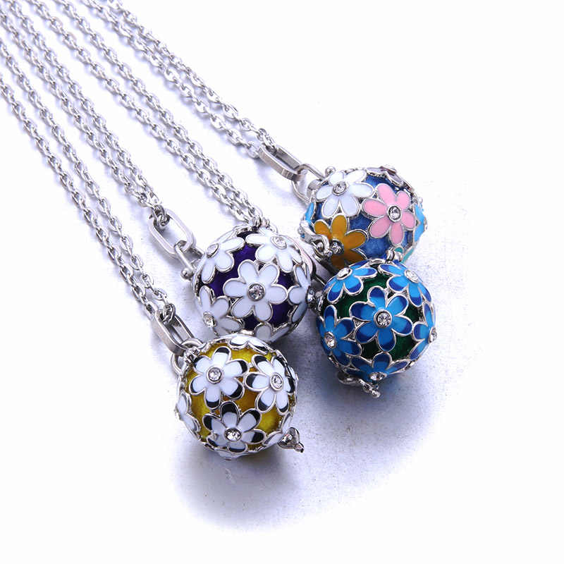 New Silver Gold Mexico Chime Music Ball Locket Necklace Vintage Pregnancy Necklace for Aromatherapy Essential Oil Pregnant Women