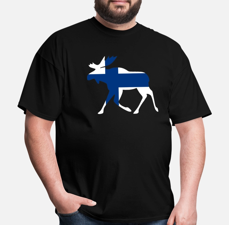 <font><b>Finland</b></font> <font><b>Flag</b></font> Moose Elk Design From Scandinavia Men's T <font><b>Shirt</b></font> image