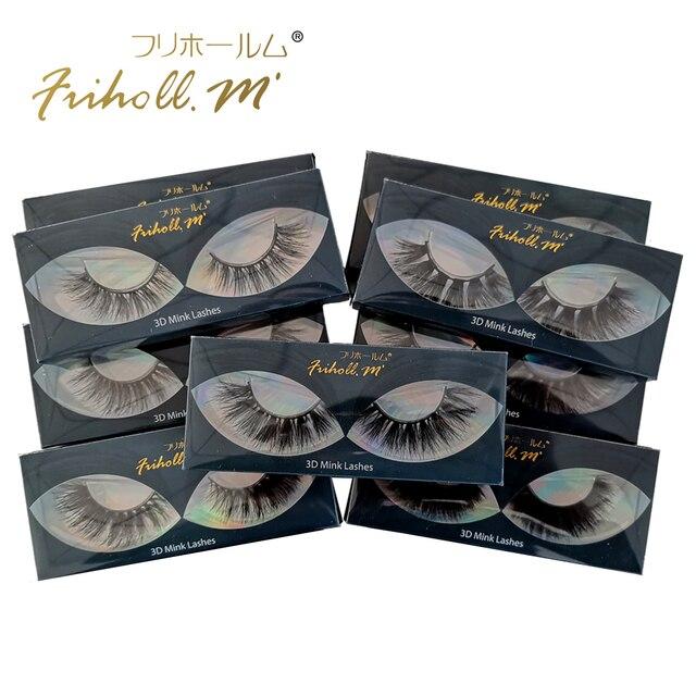 Friholl.m  wholesale 3d mink lashes 8-25mm siberian real mink strip eyelashes mink eyelashes  packaging box 1