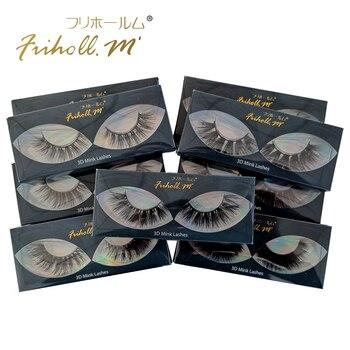 Friholl.m  wholesale 3d mink lashes 8-25mm siberian real mink strip eyelashes mink eyelashes  packaging box