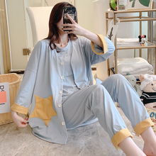 3PCS/Set 100% Cotton Maternity Nursing Sleepwear Suits Breastfeeding Pajamas for Pregnant Women Preg