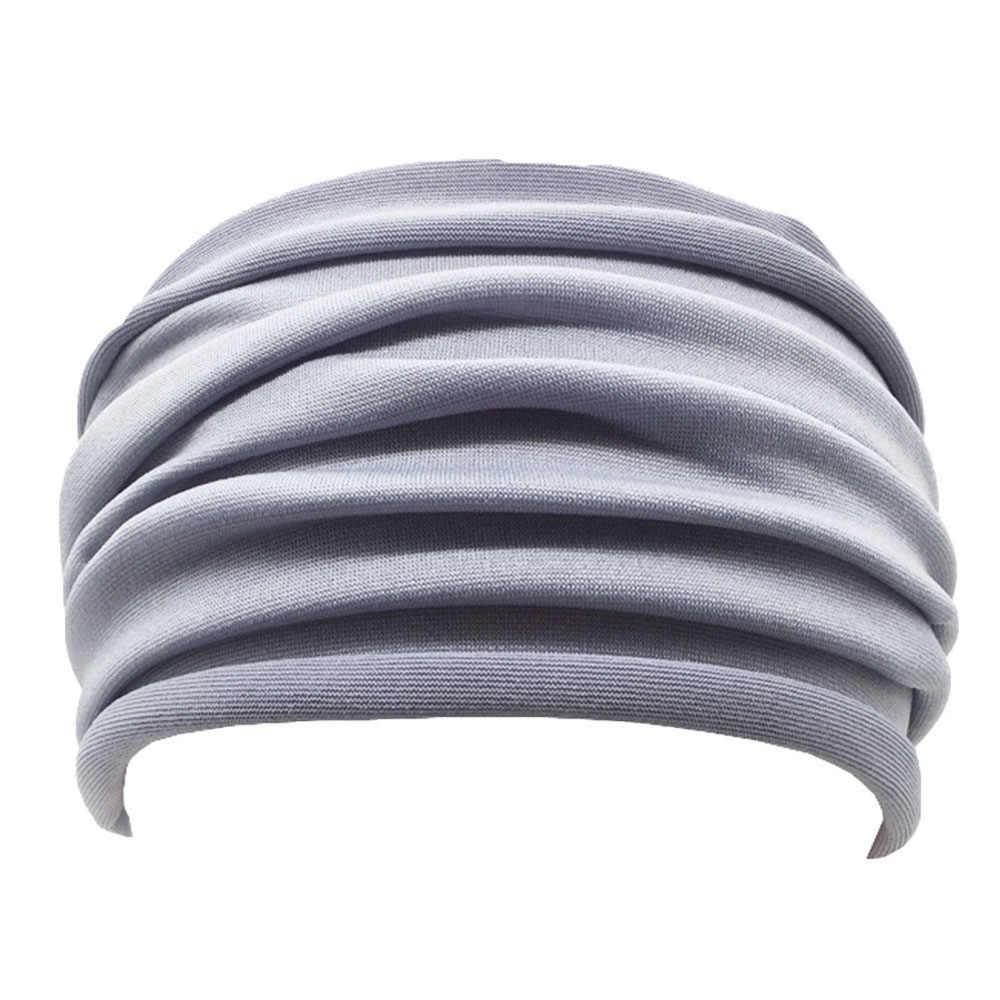 1 PC Warna Solid Lipat Ikat Kepala Yoga Anti Selip Elastis Hairband Serban Berjalan Lebar Penutup Aksesoris Olahraga
