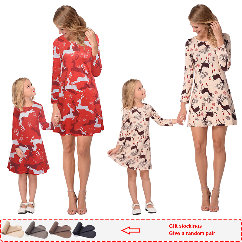 Matching Christmas-Pajamas Daughter-Dress Dresses Fashion Mom And Autumn