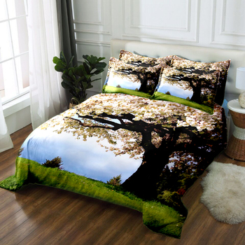 Green Forest Print Bedding Duvet Cover set  White Jasmine Tree Pattern Soft Bed Comforter set 3pcs Quilt Cover Pillowcase CP-B09