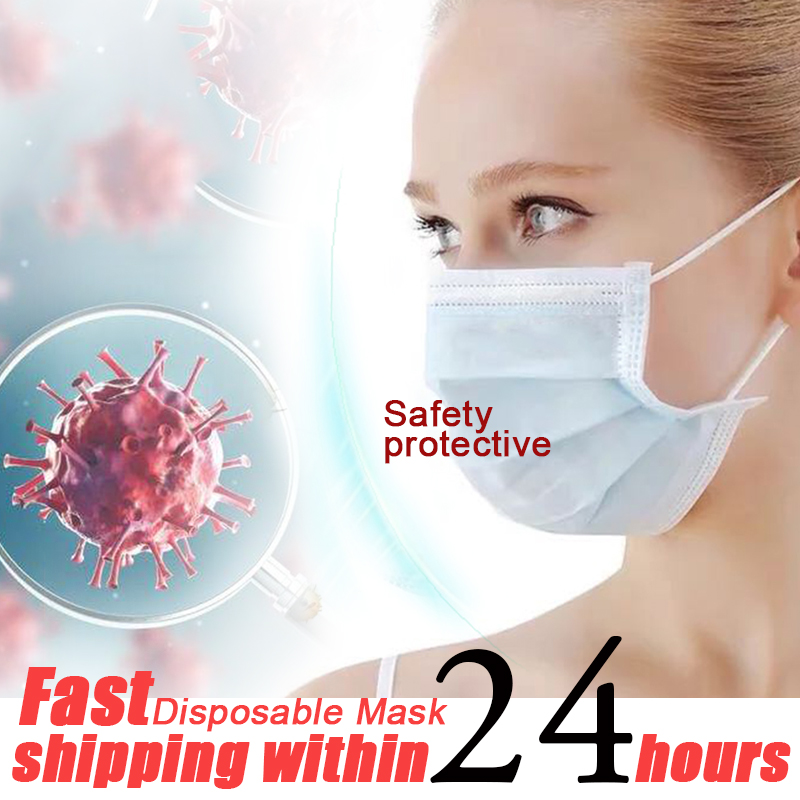 Disposable Face Mouth Masks Anti-Dust Mask 3 Layers Filter Breathable Face Mask Solid Color Anti Influenza Bacterial Health Care