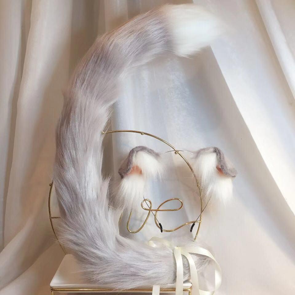 Baru Lipat Skotlandia Anime Binatang Telinga Binatang Ekor Serigala Telinga Telinga Kucing Fox Telinga Rambut Hoop Kustom Cosplay Aliexpress