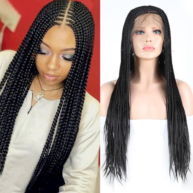 Peruca dianteira do laço sintético das perucas trançadas longas da parte média do carisma com cabelo do bebê caixa de fibra resistente ao calor tranças perucas para mulher