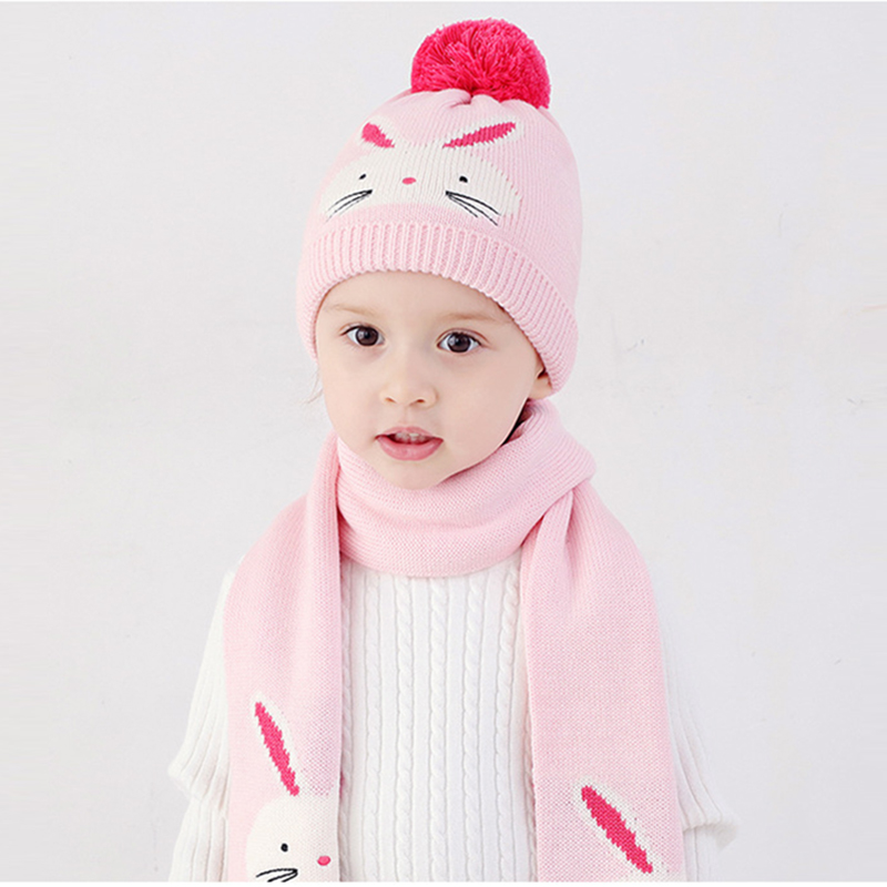 Girl Hat Scarf Set Winter Knit Beanie Autumn Pink Cotton Warm Pompon Rabbit Dobby Skiing Outdoor Baby Accessory
