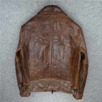 Retro Genuine Leather Jacket Men Luxury Brand Zip Warm Motorcycle Jacket Vintage Pockets Long Sleeve Autumn Winter Coat Male