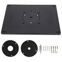 Router Tisch Insert Platte Aluminium Router Tisch Insert Platte Mit 4 Ringe Und Schrauben Für Holzbearbeitung Bänke Holz Trimmer Platte