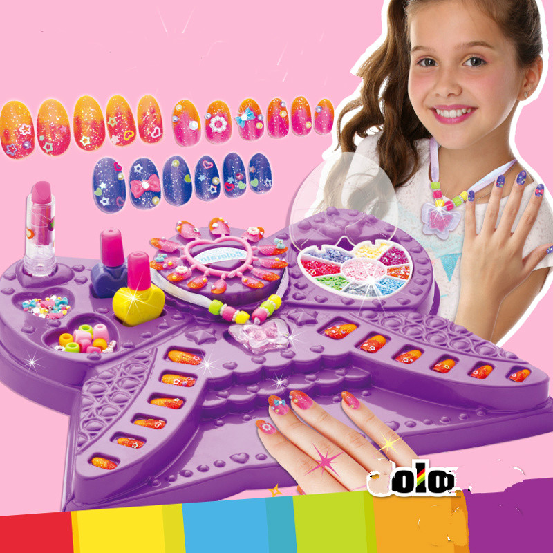 Children Babies Kid Nail Art Beauty Princess Girl Toy Craft Handmade Pretend Play Makeup Game Set Cosmetic Makeup Toy Set image