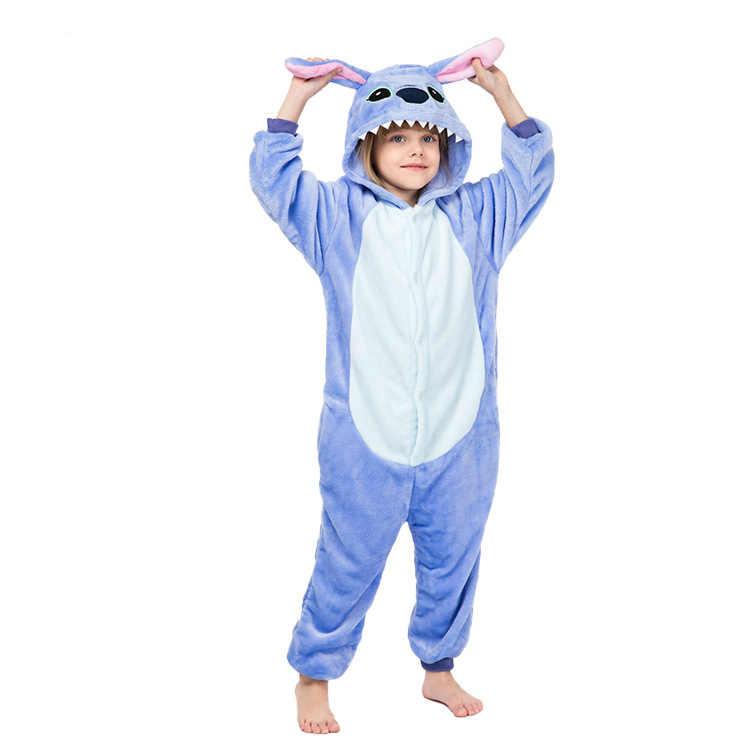 Kigurumi בנות ילד Onesies ילדים חורף Onesies Unicorn Cartoon אנימה בעלי החיים פיג 'מה הלבשת סרבל ילדי שמיכת סליפרס