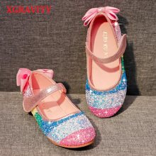 XGRAVITY New Spring Autumn Crystal Rhinestone Fashion Girls Footwear Colorful Rainbow Child Shoes Butterfly Shoes Girl V005(China)