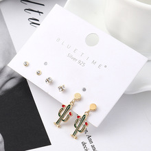 2019 Rushed Aros Brinco Korean Version Of Cactus Earrings Small Fresh Simple S925 Needle Anti-allergy Ear Nail Set Wholesale  2018 rushed real brinco s925 pure antique mosaic and tian yu jade bell orchid butterfly lady ear pendant earrings wholesale