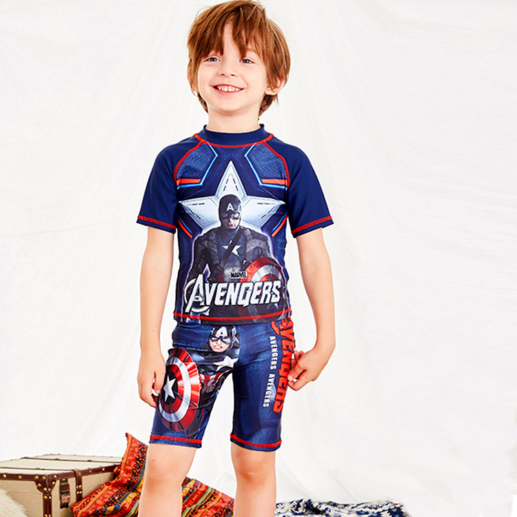 KID'S Swimwear BOY'S Split Type CHILDREN'S Swimsuit Teenager Kids Chinlon Child Swimming Trunks Cap Set America Captain