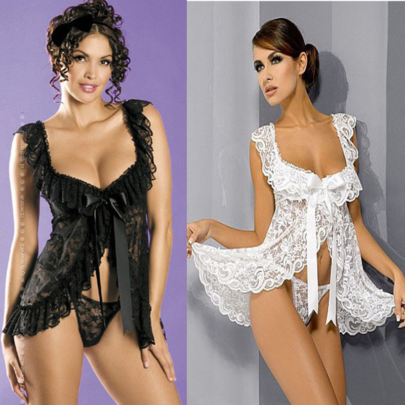 Sexy Costumes Women Hot Erotic Lingerie Dress Set Lace Clothing Sexy Underwear Nightwear Maid Uniform +G-string Exotic Apparel