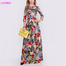 2019 autumn and winter European American style new fashion womens retro elegant print round neck long sleeve dress