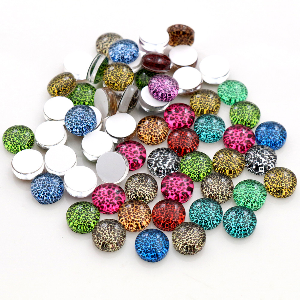 8mm 10mm 12mm-25mm Leopard Print Photo Glass Cabochons Mixed Color Cabochons For Bracelet Earrings Necklace Bases Settings