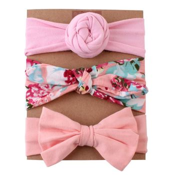 цена на Different Styles Baby Girls Headband Sets Bow Floral Printed Turban Knot Head Wraps Photography Accessories Newborn Hairband Kit