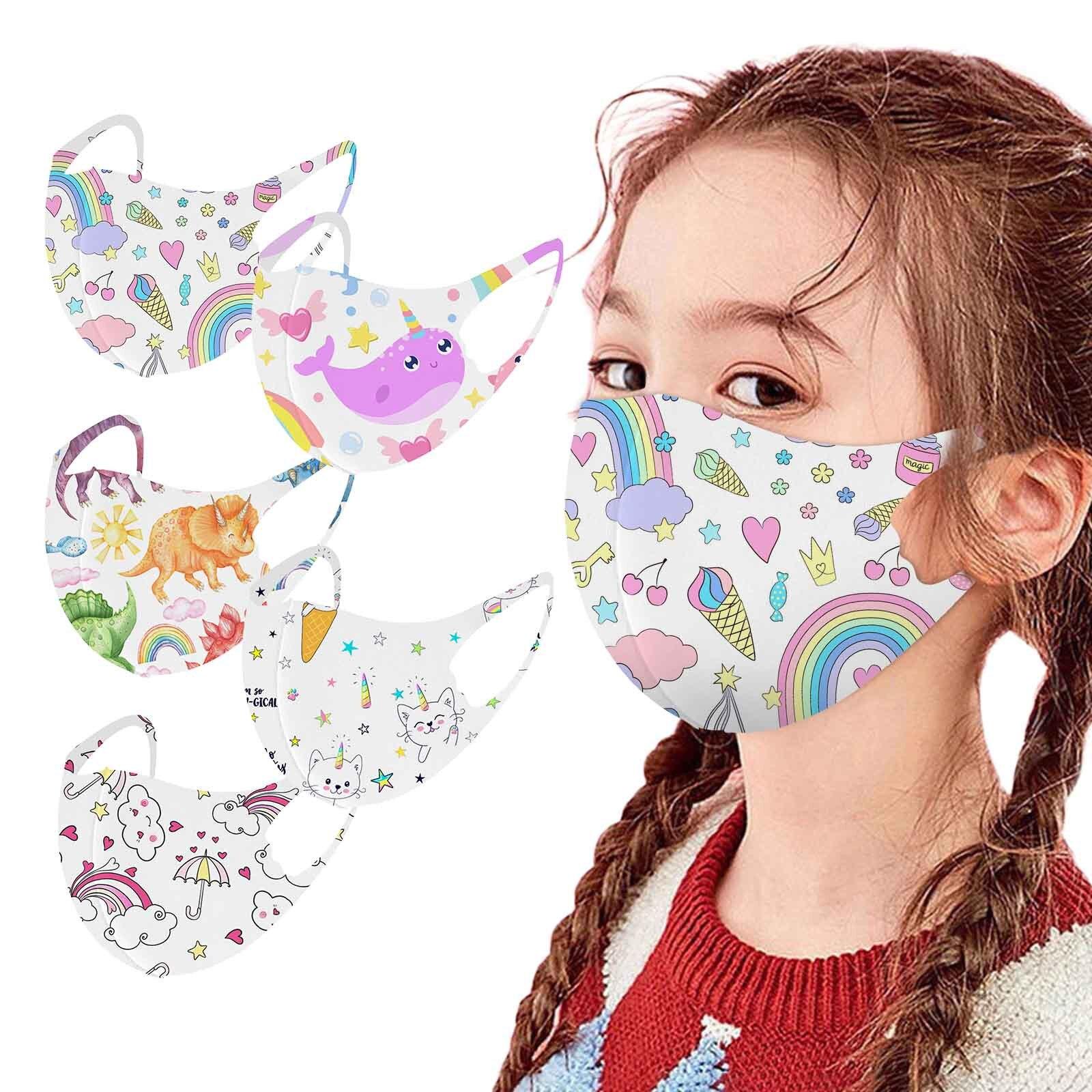 Headband mascarillas ni?os reutilizables kids masques Rainbow printed ice silk cloth mask for childr
