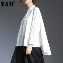 [EAM] Women Back Long Brief Asymmetrical Big Size Blouse New Lapel Long Sleeve L