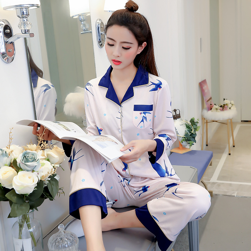 Liang Xing-Autumn & Winter New Style Open Buckle Color Block Pajamas Suit Color Block Bird M -Xxl